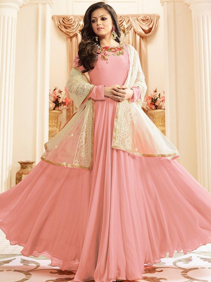 Buy Designer Faux Georgette Umbrella Cut Anarkali Salwar Suit Online -YOYO Fashion.