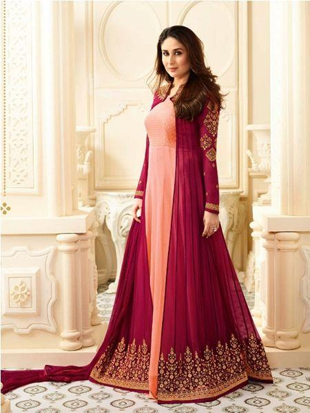 Buy Designer Peach & Maroon Anarkali Suit Online in India from YOYO Fashion