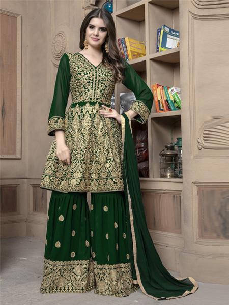 Front of Pakistani Green Sharara Suit Design Online - YOYO Fashion