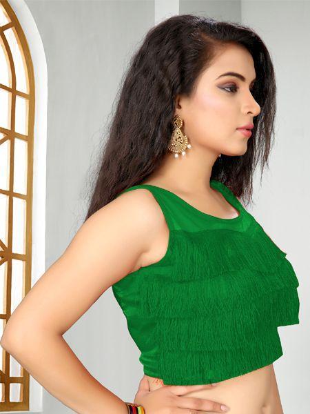 Buy Designer Green Ruffle Saree Blouse Online -YOYO Fashion