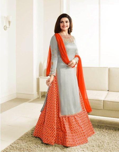 Designer Grey & Orange Indo-Western Dress Online - YOYO Fashion