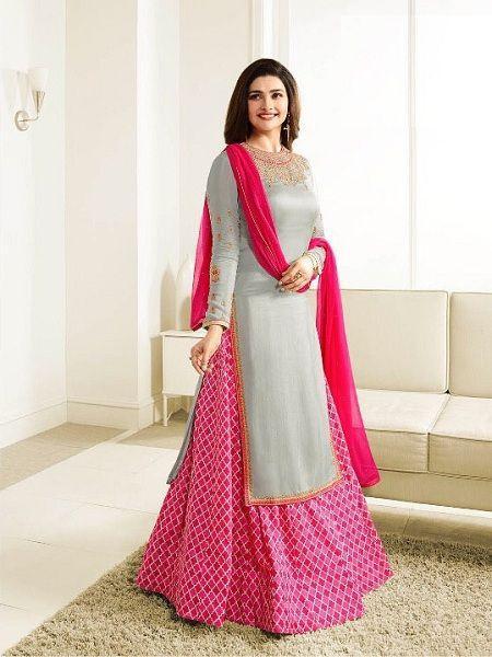 Designer Grey & Pink Indo Western Dress Online in India