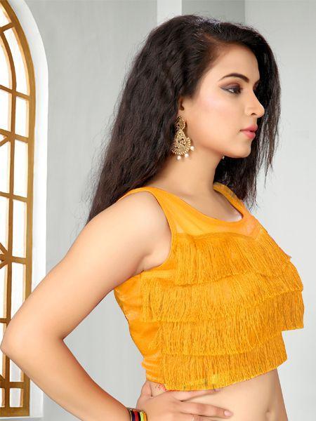 Buy Designer Light Orange Ruffle Saree Blouse Online - YOYO Fashion