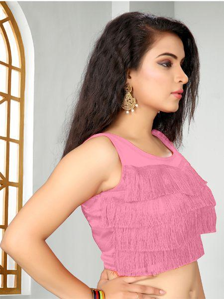 Buy Designer Light Pink Ruffle Saree Blouse Online - YOYO Fashion