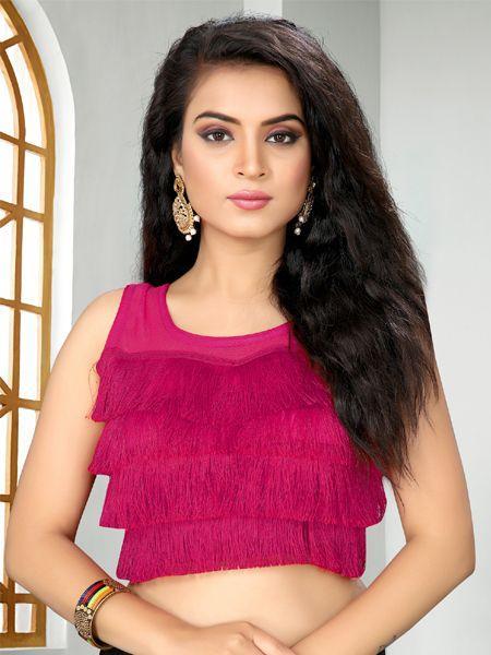 Buy Designer Magenta Ruffle Saree Blouse Online in India- YOYO Fashion