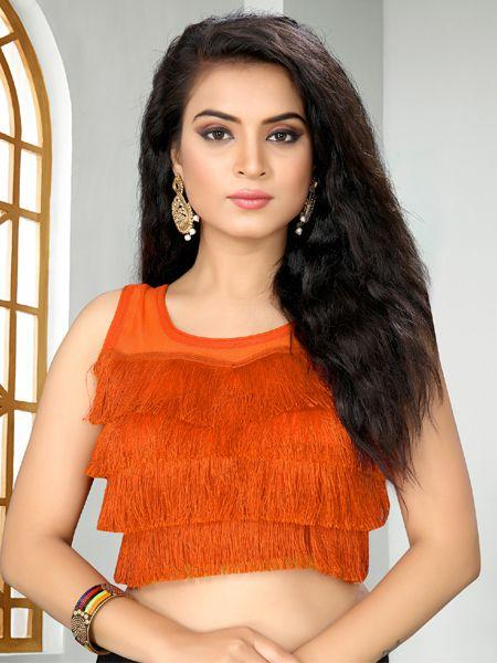 Buy Designer Orange Ruffle Saree Blouse Online in India-YOYO Fashion