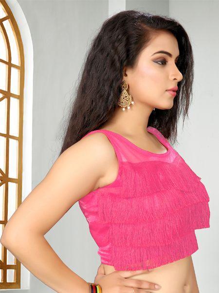 Buy Designer Pink Ruffle Saree Blouse Online - YOYO Fashion