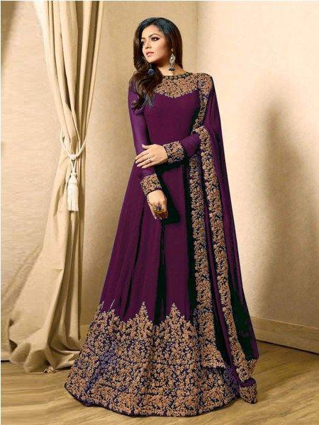 Buy Designer Purple Embroidered Anarkali Suit Online - YOYO Fashion
