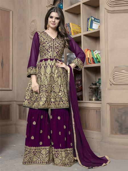 Front of Pakistani Purple Sharara Suit Design Online - YOYO Fashion