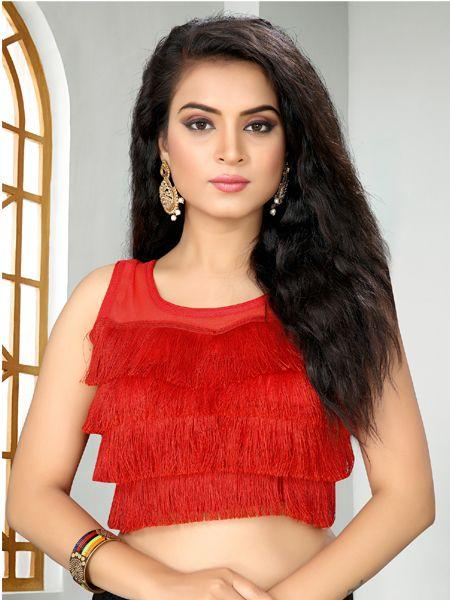 Buy Designer Red Ruffle Saree Blouse Online - YOYO Fashion
