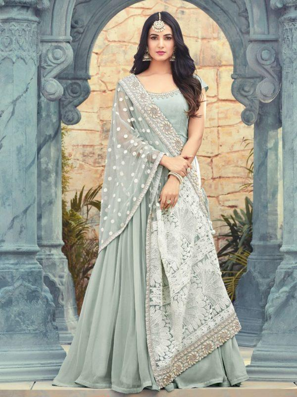 Buy Resham Embroidered Grey Anarkali Suit Online- YOYO Fashion