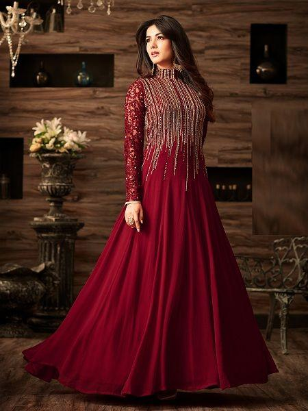 Buy Exclusive Maroon Party Wear Anarkali Salwar Suit Online - YOYO Fashion