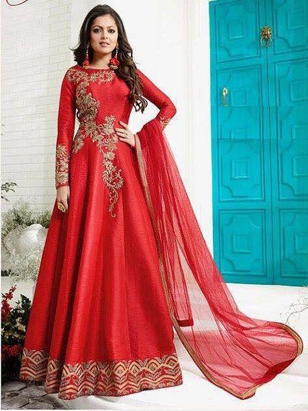 Buy Fetching Red Anarkali Salwar Suit Online in India