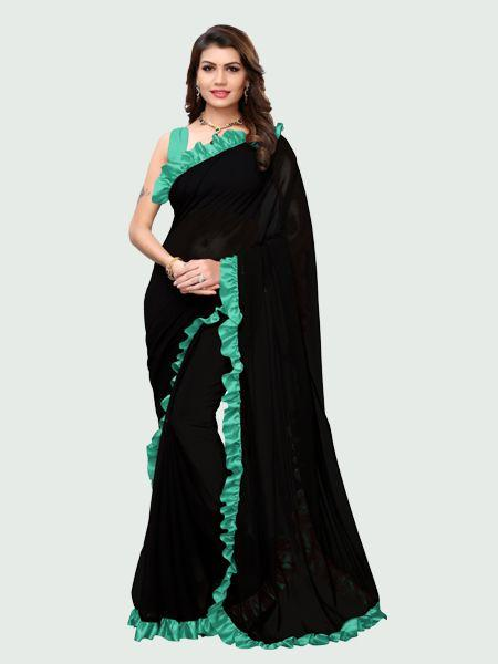 Buy Designer Firozi and Black Ruffle Saree Online in India from YOYO Fashion