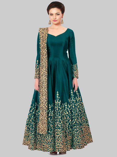 Firozi Silk Embroidered Anarkali Suit