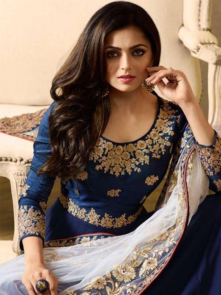 Front Neck Pattern of Blue Anarkali Suit Online -YOYO Fashion
