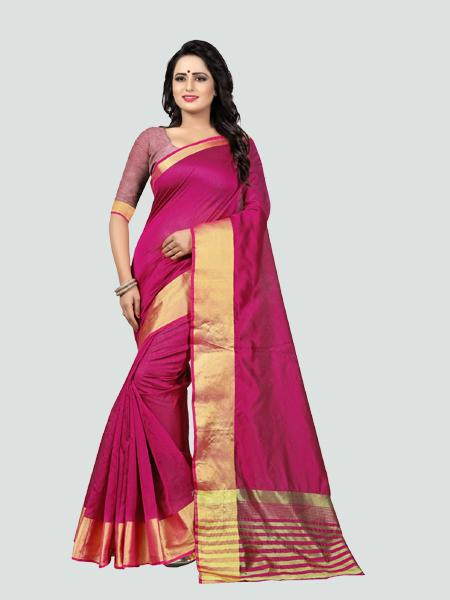 Buy Plain Pink Silk Saree with Golden Border Online from YOYO Fashion