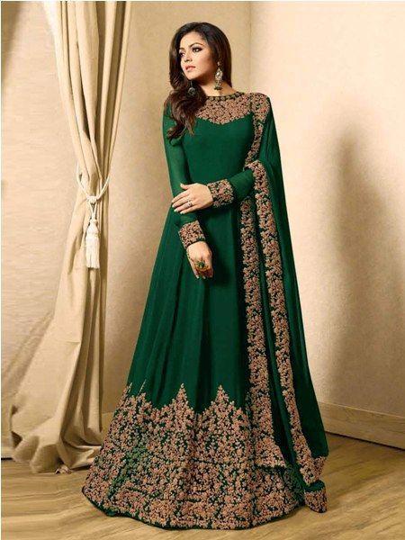 Buy Designer Green Embroidered Anarkali Suit Online- YOYO Fashion