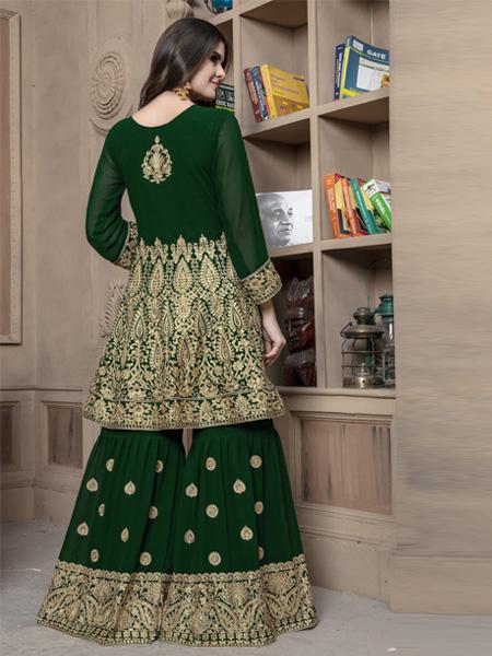 Back of Pakistani Green Sharara Dress Online - YOYO Fashion
