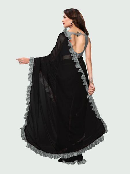 Grey and Black Ruffle Saree Online - YOYO Fashion