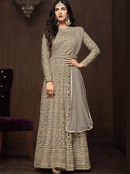 Buy Designer Grey Anarkali Suit Online in India -YOYO Fashion