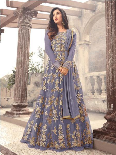 Buy Grey Embroidered Net Anarkali Suit Online - YOYO Fashion