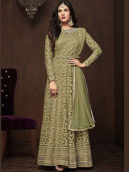 Buy Sonal Chauhan Designer Green Anarkali Suits Online in India -YOYO Fashion