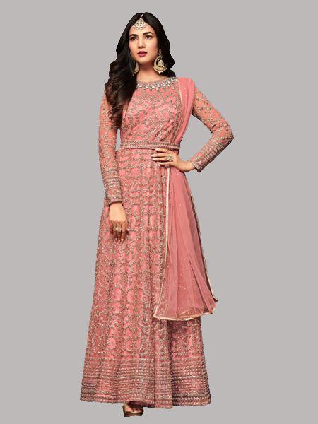 Buy Sonal Chauhan Designer Pink Anarkali Suits Online in India - YOYO Fashion