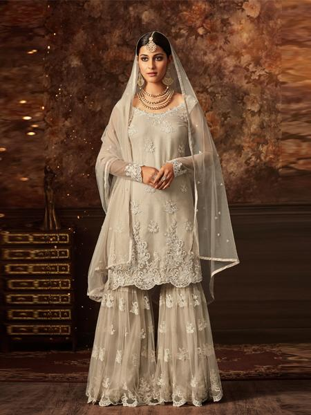 Buy Latest Beige Sharara Suit Online in India- YOYO Fashion