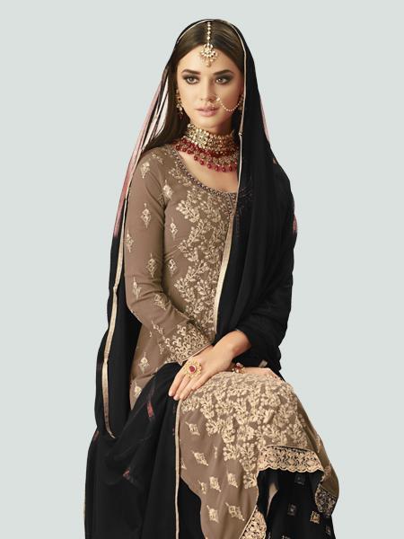 Latest Beige and Black Straight Salwar Suit Online - YOYO Fashion