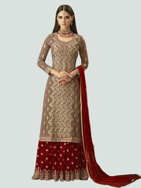 Shop Latest Designer Beige and Red Sharara Suit Design from YOYO Fashion