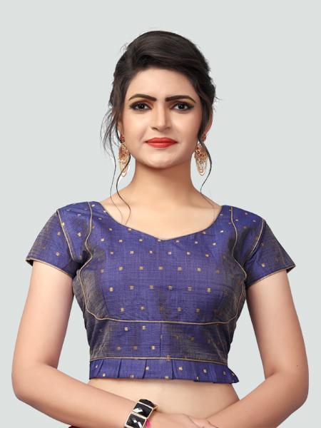 Buy Latest Blue Silk Saree Blouse Online in India - YOYO Fashion