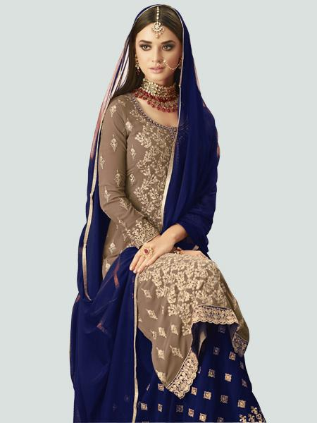 Front Neck Pattern of Designer Beige and BLue Sharara Lehenga Design - YOYO Fashion