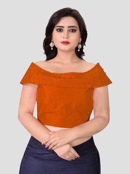 Buy Latest Designer Orange Boat Neck Solid BlouseOnline On YOYO Fashion