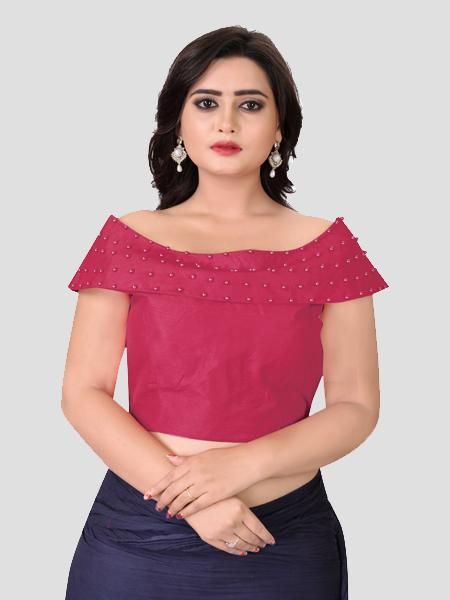 Buy Latest Designer Peach Boat Neck Solid Blouse Online - YOYO Fashion
