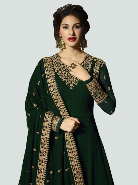 Latest Green Anarkali Dress Online - YOYO Fashion