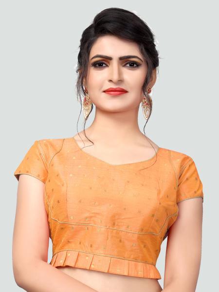 Buy Latest Light Orange Silk Saree Blouse Online - YOYO Fashion