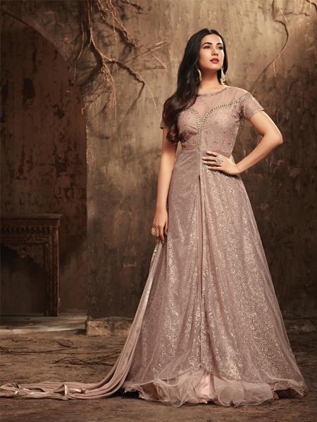 Buy Light Peach Anarkali Salwar Suit Online - YOYO Fashion