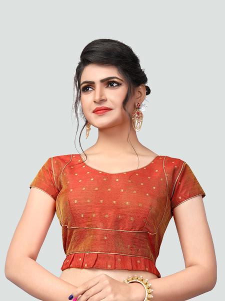 Buy Latest Orange Silk Saree Blouse Online in India- YOYO Fashion