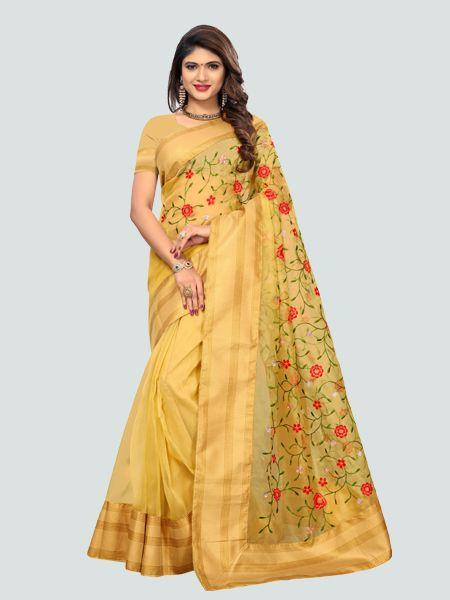 Buy Latest Poli Net Yellow Embroidered Saree Online On YOYO Fashion.