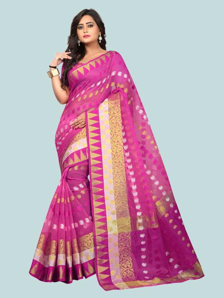 Buy Latest Polyester Pink Embroidered Saree Online On YOYO Fashion.