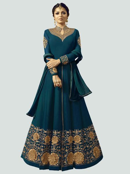 Buy Latest Turquoise Anarkali Dress Online - YOYO Fashion