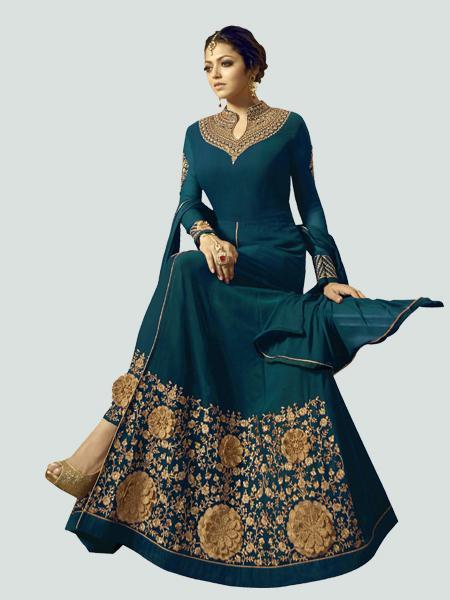 Latest Turquoise Anarkali Dress Online - YOYO Fashion