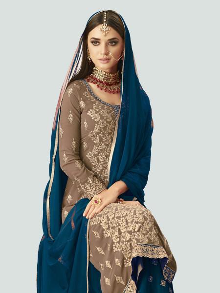 Front Neck Pattern of Designer Beige and Turquoise Sharara Lehenga Design - YOYO Fashion