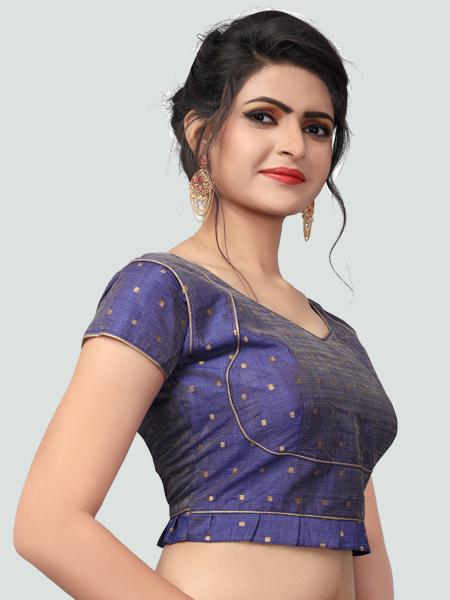 Left Side of Blue Silk Saree Blouse for Women - YOYO Fashion
