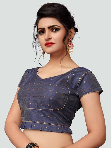 Left Side of Grey Silk Saree Blouse for Women - YOYO Fashion