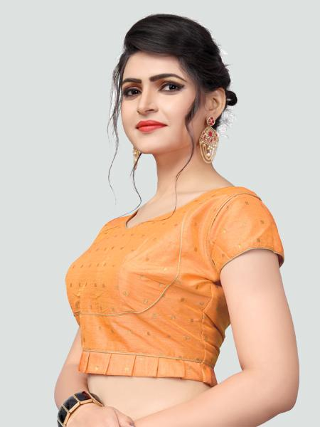 Left Side of Light Orange Silk Saree Blouse for Women - YOYO Fashion