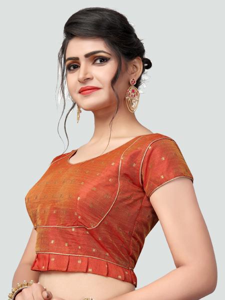 Left Side of Orange Silk Saree Blouse for Women - YOYO Fashion