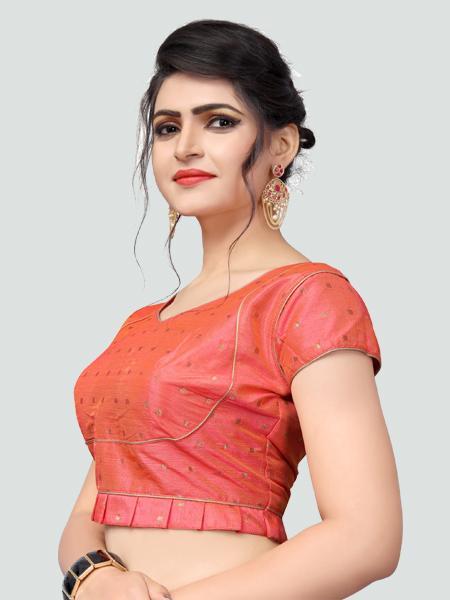 Left Side of Peach Silk Saree Blouse for Women - YOYO Fashion