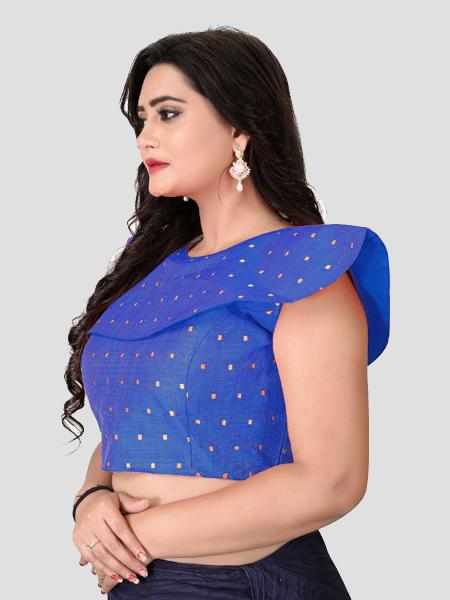 Left Side of Blue High Neck Embroidered Blouse - YOYO Fashion